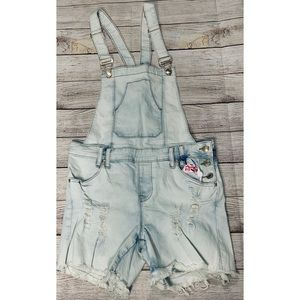 NWT Blue Rope Light Wash Denim Cutoff Overalls